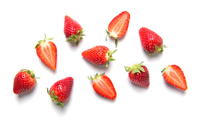 Ripe strawberries isolated on white background, berry pattern, top view