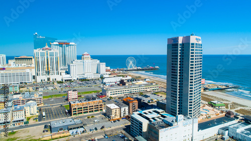 AERIAL VIEW OF ATLANTIC CITY BOARDWALK AND STEEL PIER. NEW JERSEY. USA.