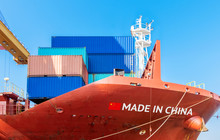 Trade War , Made In China Smart Logistic Concept. Shipping Cargo Ship Business Container Import And Export Company For Logistics And Transportation. Factory Move From China.