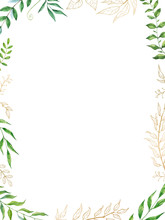 Watercolor Herbal Mix Vector Frame. Hand Painted Plants, Branches And Leaves On White Background.