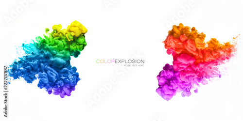 Rainbow of Acrylic Ink in Water. Color Explosion - fototapety na wymiar