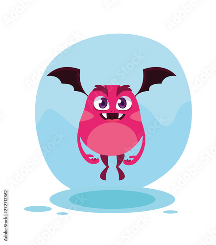 Pink monster cartoon design icon vector ilustration