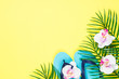 canvas print picture Summer tropical background top view.