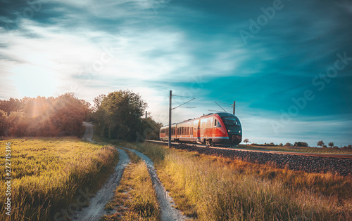 Foto op Canvas Pool High-speed train moving through nature at sunset