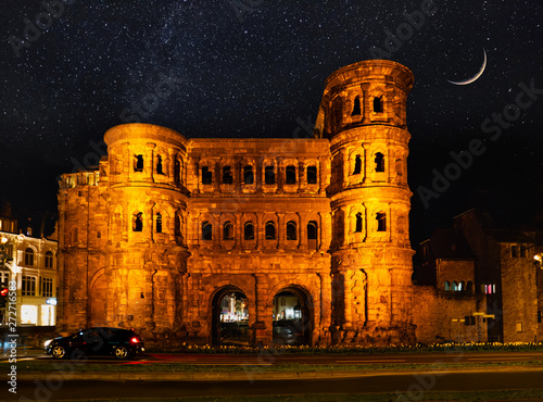 Con. Antique View on Porta Nigra (antique Roman gate) at night with stars and moon