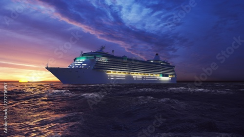 Fotografia  Luxury cruise ship sailing from the port at sunrise across the ocean