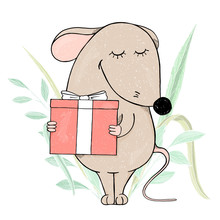 Cute Mouse Holding A Gift And Smiling.