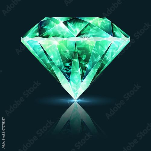 Bright Green Crystal Emerald Gemstone Canvas Print