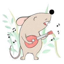 Cute Mouse With A Guitar Singing.