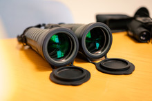 Binoculars On Yellow Background Birds Discover Watching Glaaass Looking Optical Object Magnification Glasses Telescope Camera Spy Zoom View From Far Technology Isolated Equipment Gear Prism Adventure