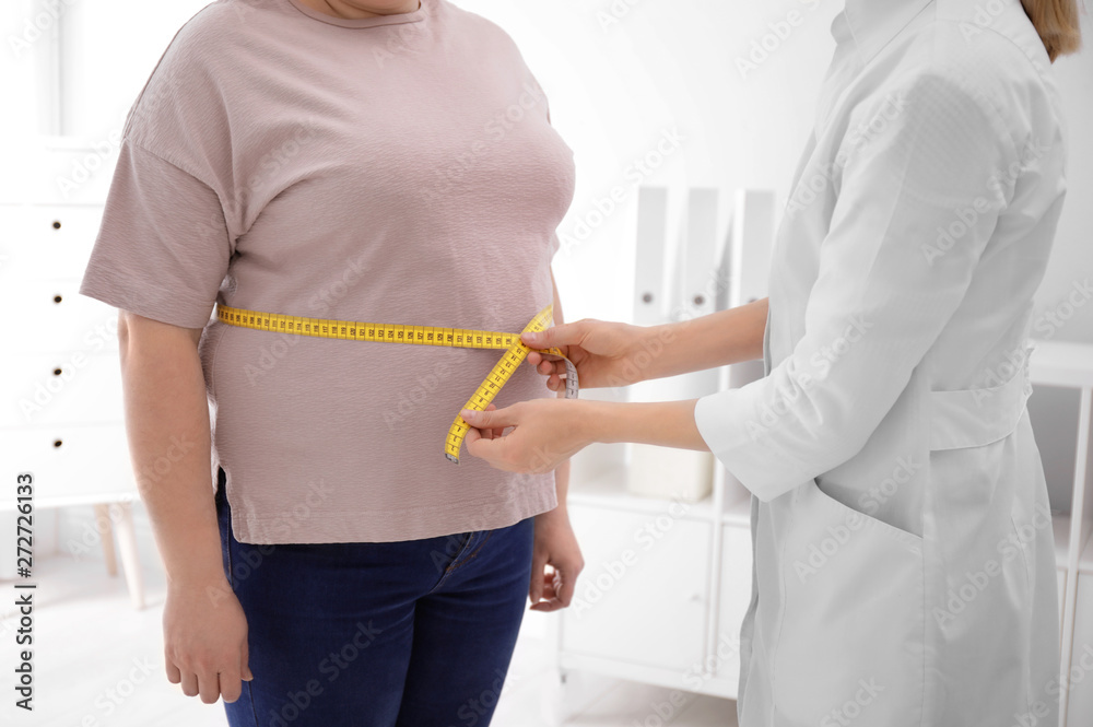 Fototapeta Doctor measuring waist of overweight woman in clinic, closeup