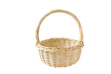 Empty Bamboo Basket Isolated On White Background.