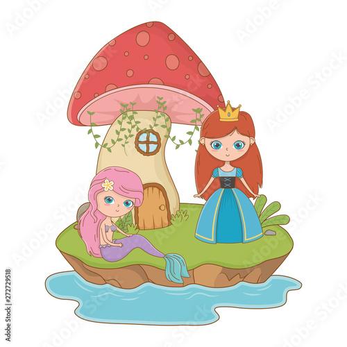 Poster Magic world Medieval princess of fairytale design vector illustration