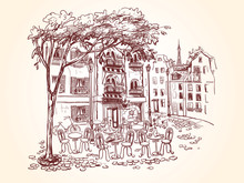 Street Cafe With A Tree And Tables In A French City. Bicycle And Scooter Next To Cafe. Old Buildings And Balconies With Flowers. Vector Illustration In Vintage Style.