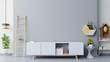 Leinwanddruck Bild Cabinets for TV in a room, dark blue walls ,3D rendering