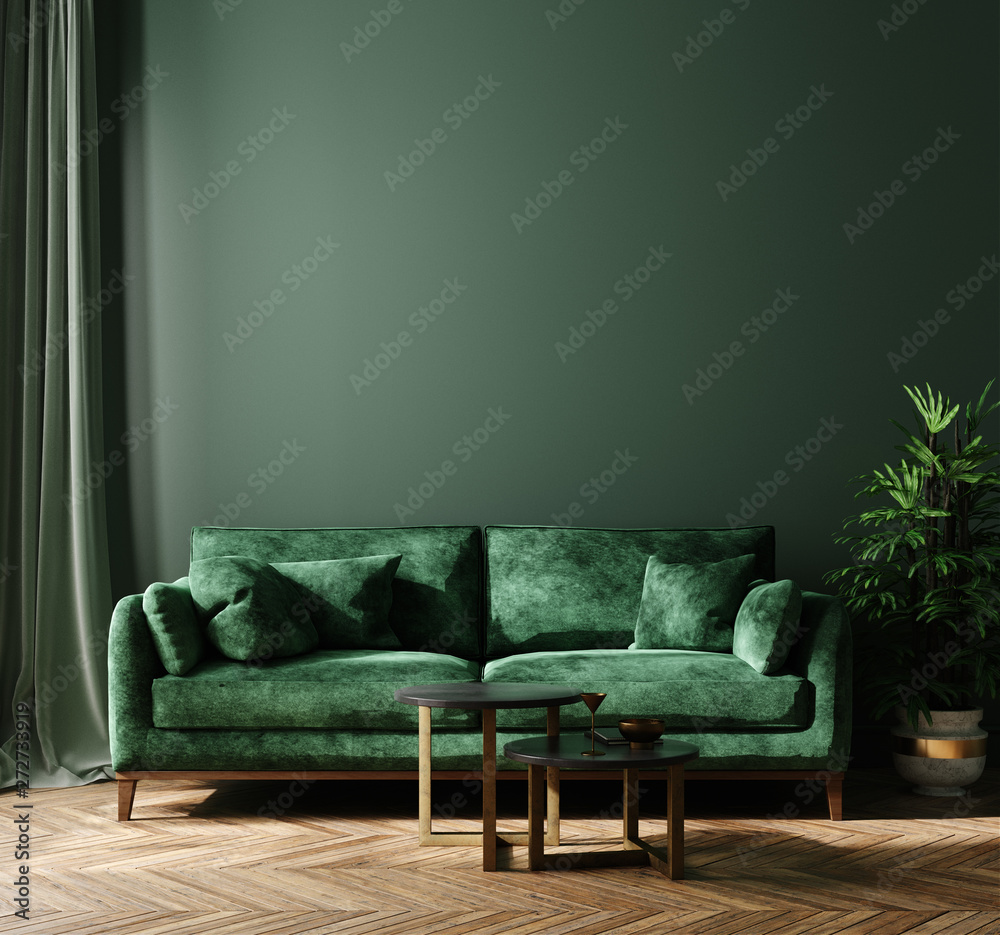 Fototapety, obrazy: Home interior mock-up with green sofa, table and decor in living room, 3d render
