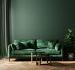 Leinwandbild Motiv Home interior mock-up with green sofa, table and decor in living room, 3d render