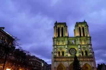 notre dame de paris at night, French Street light ,Photo image a Beautiful panoramic view of Paris Metropolitan City