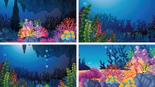 Set Of Underwater Coral Scenes