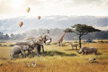 Panel Szklany Zwierzęta Kenya Safari Dream Trip Scene
