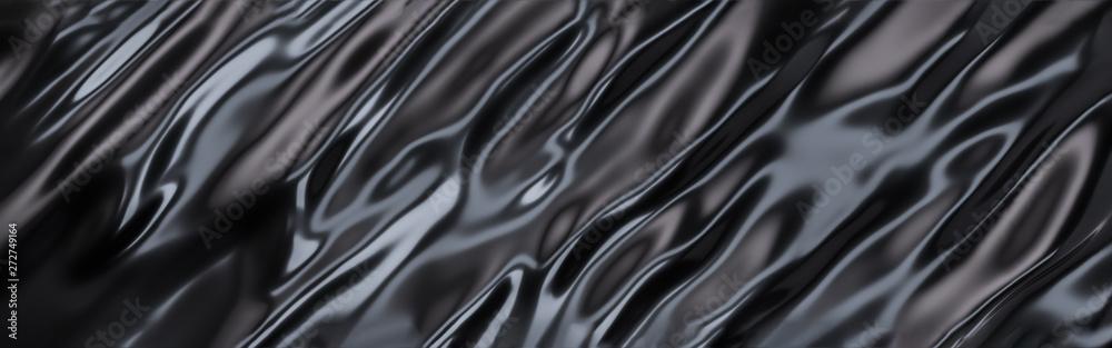 Fototapeta Black Oil or Petrol liquid flow, liquid metal close-up, wide horizontal banner. 3d illustration