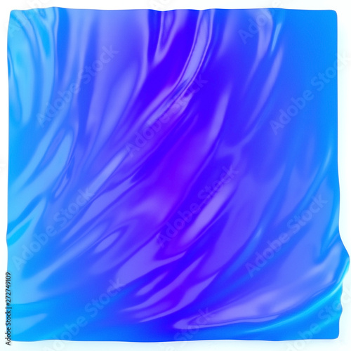 canvas print motiv - vpanteon : Blue aquamarine gradient background. Liquid surface futuristic backdrop, fluid abstract shape, 3d illustration.