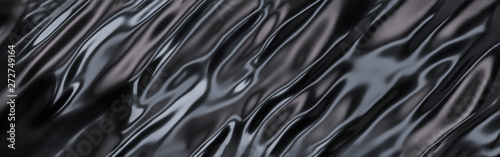 Poster Metal Black Oil or Petrol liquid flow, liquid metal close-up, wide horizontal banner. 3d illustration