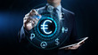 Euro icon on screen. Currency trading Exchange rate Forex business concept.