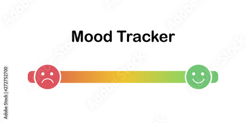 Scale of mood with outline emoticons Canvas Print