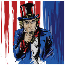 Uncle Sam Drawn Character With...