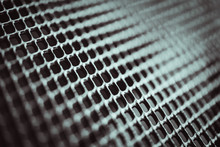 Metal Background. Lattice Texture With Small Cells Grid. Selective Focus Point.