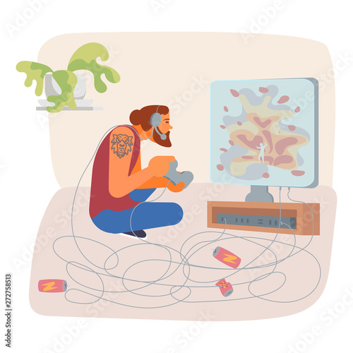 Photo  Gaming and Television addiction concept.