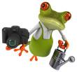 canvas print picture Fun frog gardener - 3D Illustration