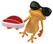 canvas print picture Fun yellow frog - 3D Illustration