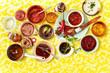 Leinwandbild Motiv Flat lay of assorted sauces and dressing