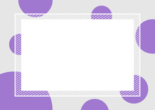 Empty Banner Frame Polka Dot Purple Colors Rectangle Background, Banner Frame Polka Dot Pastel Purple And Copy Space Advertising, Template Banner Blank And Polka Dot Purple Gray Frame For Graphic