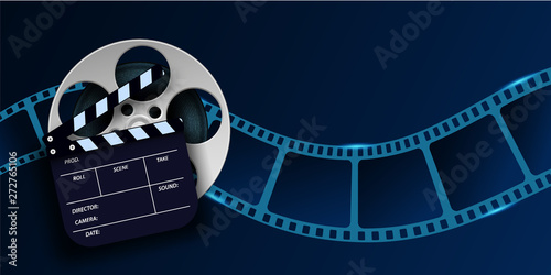 Vászonkép Cinema film strip wave, film reel and clapper board isolated on blue background