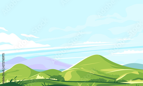 Keuken foto achterwand Lichtblauw Mountain range landscape background in sunny day, hiking travel concept illustration, panorama of green hills with plants and grass