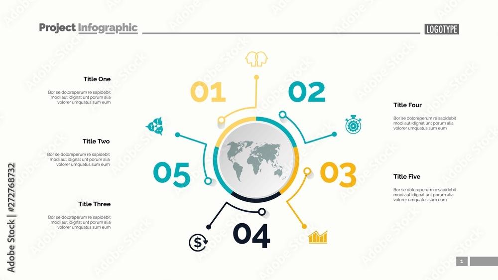 Five options process chart slide template Canvas Print