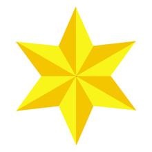 Jewish Star Of David. Golden Six-pointed Star. Gold Magen David. Icon.