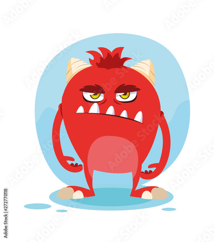 Red monster cartoon design icon vector ilustration