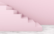 Fashion Beauty Podium Backdrop With Pink Stair For Product Display. Geometric 3d Steps Background. Pink Background.
