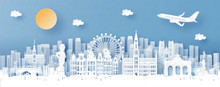 Panorama View Of Brussels, Belgium And City Skyline With World Famous Landmarks In Paper Cut Style Vector Illustration