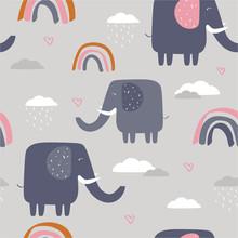 Happy Elephants, Clouds, Rainb...