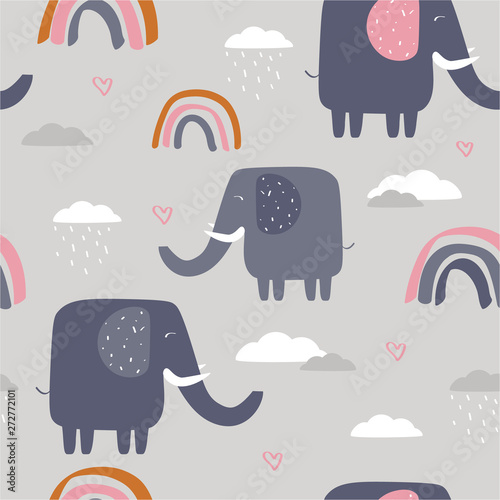 Happy elephants, clouds, rainbow, hand drawn backdrop. Colorful seamless pattern with animals and water drops. Decorative cute wallpaper, good for printing. Overlapping background vector
