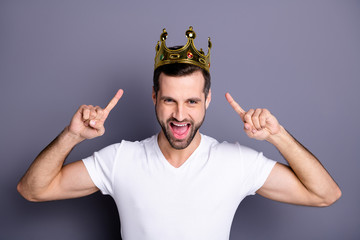 Portrait of funny funky lovely cheerful excited people person have gemstone ego crown feel rejoice attractive enjoy party laughter dressed light-colored outfit isolated grey background