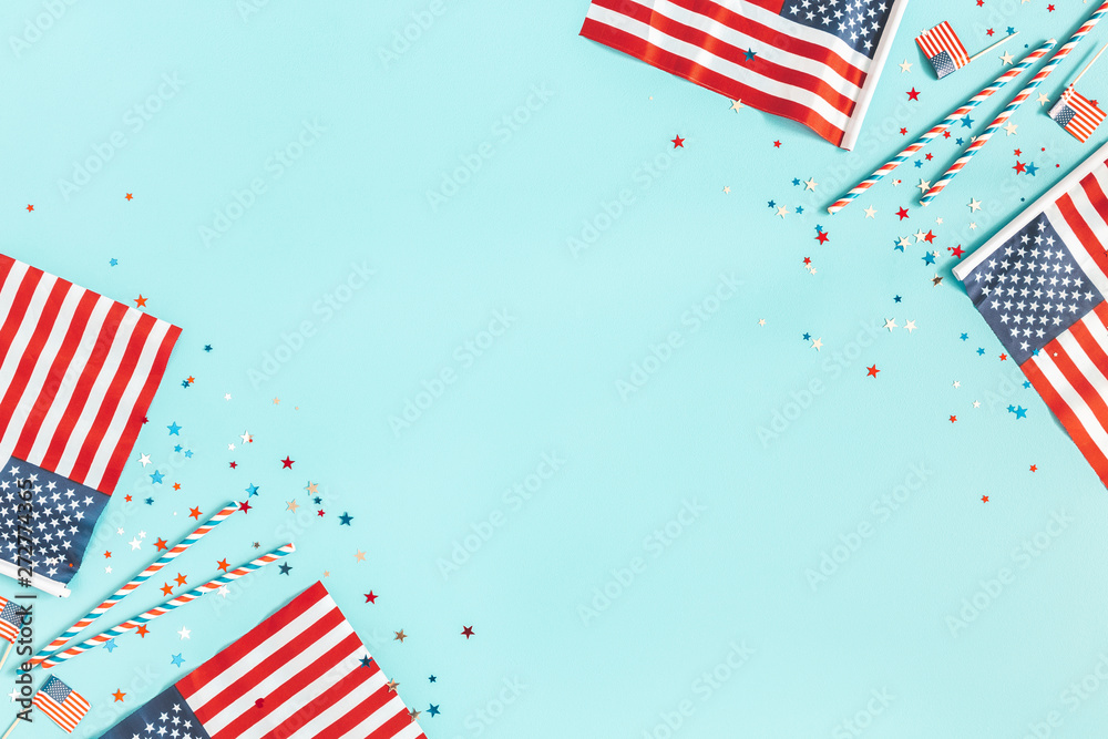 Fototapety, obrazy: 4th of July American Independence Day decorations on blue background. Flat lay, top view, copy space