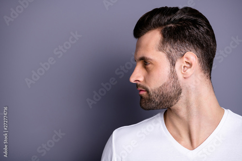 Valokuva  profile side view photo of focused concentrated lovely person look feel proud ch