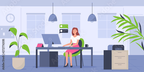 Obraz woman in office - fototapety do salonu