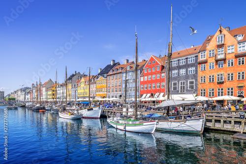 Canvas Print panoramic view at nyhavn in copenhagen, denmark